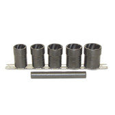 "Lock Technology 4400 Twist Socket Set, 6 Piece, 1/2"" Drive, for Removing Damaged Studs and Bolts, 3/4"" to 1"", on Rail"