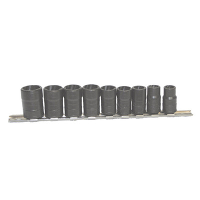 "Lock Technology 4500 Twist Socket Set, 3/8"" Drive, 9 Piece, for Removing Damaged Studs and Bolts, 10mm to 19mm, on Rail"