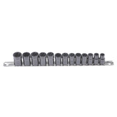 "Lock Technology 4600 Twist Socket Set, 3/8"" Drive, 13 Pc, for Removing Damaged Studs, 10mm to 19mm, 3/8"" to 3/4"", on Rail"