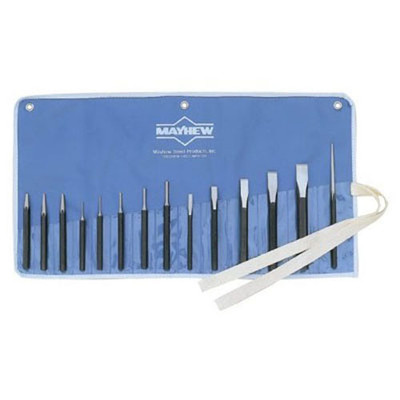 Mayhew Tools 61044 Punch and Chisel Set 14 Piece, with Assorted Cold Chisels