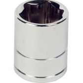"Performance Tool W32036 Chrome Socket, 1/2"" Drive, 1-1/8"", 6 Point, Shallow"