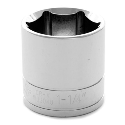 "Performance Tool W32040 Chrome Socket, 1/2"" Drive, 1-1/4"", 6 Point, Shallow"