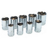 "Performance Tool W32202 Chrome Socket Set, 1/2"" Drive, 9 Piece, 12mm to 22mm, 6 Point, Shallow"