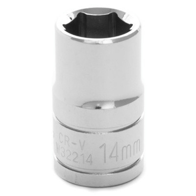 "Performance Tool W32214 Chrome Socket, 1/2"" Drive, 14mm, 6 Point, Shallow"