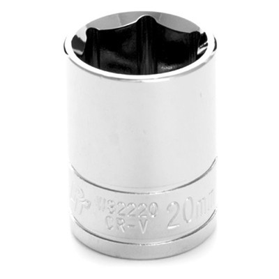 "Performance Tool W32220 Chrome Socket, 1/2"" Drive, 20mm, 6 Point, Shallow"
