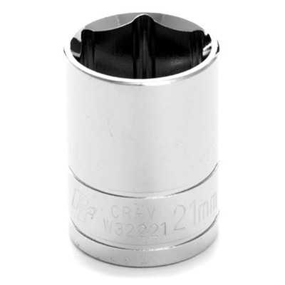 "Performance Tool W32221 Chrome Socket, 1/2"" Drive, 21mm, 6 Point, Shallow"