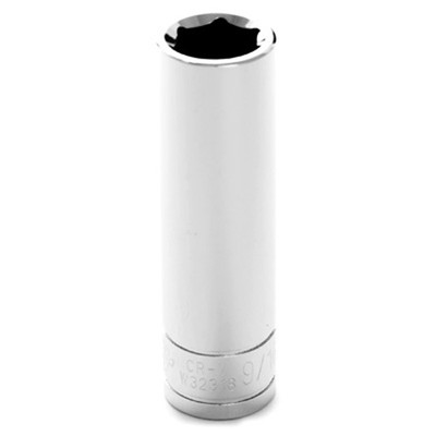 "Performance Tool W32318 Chrome Socket, 1/2"" Drive, 9/16"", 6 Point, Deep"