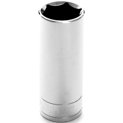 "Performance Tool W32328 Chrome Socket, 1/2"" Drive, 7/8"", 6 Point, Deep"