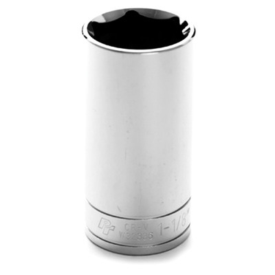 "Performance Tool W32336 Chrome Socket, 1/2"" Drive, 1-1/8"", 6 Point, Deep"
