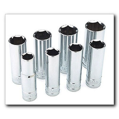 "Performance Tool W32400 Chrome Socket Set, 1/2"" Drive, 8 Piece, 12mm to 19mm, 6 Point, Deep"
