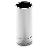 "Performance Tool W32424 Chrome Socket, 1/2"" Drive, 24mm, 6 Point, Deep"