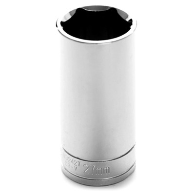 "Performance Tool W32427 Chrome Socket, 1/2"" Drive, 27mm, 6 Point, Deep"