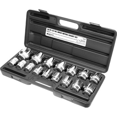 "Performance Tool W34906 Chrome Socket Set, 3/4"" Drive, 16 Piece, 22mm to 50mm, 12 Point, Shallow"