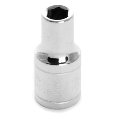 "Performance Tool W36006 Chrome Socket, 1/4"" Drive, 3/16"", 6 Point, Shallow"