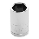 "Performance Tool W36014 Chrome Socket, 1/4"" Drive, 7/16"", 6 Point, Shallow"