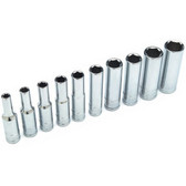 "Performance Tool W36300 Chrome Socket Set, 1/4"" Drive, 10 Piece, 5/32"" to 1/2"", 6 Point, Deep"