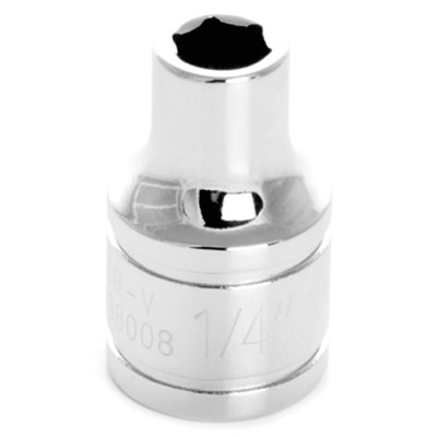 "Performance Tool W38008 Chrome Socket, 3/8"" Drive, 1/4"", 6 Point, Shallow"