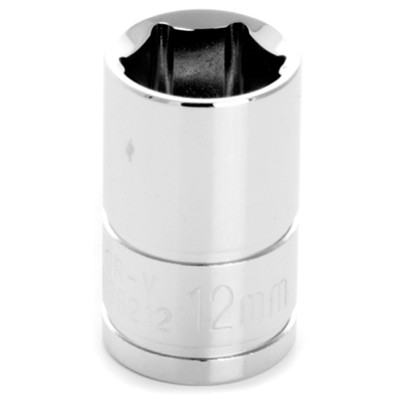 "Performance Tool W38212 Chrome Socket, 3/8"" Drive, 12mm, 6 Point, Shallow"
