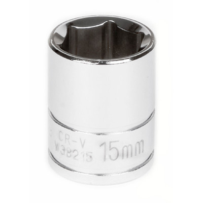 "Performance Tool W38215 Chrome Socket, 3/8"" Drive, 15mm, 6 Point, Shallow"