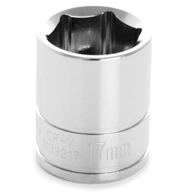 "Performance Tool W38217 Chrome Socket, 3/8"" Drive, 17mm, 6 Point, Shallow"