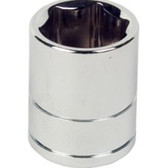"Performance Tool W38218 Chrome Socket, 3/8"" Drive, 18mm, 6 Point, Shallow"