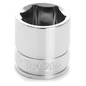 "Performance Tool W38220 Chrome Socket, 3/8"" Drive, 20mm, 6 Point, Shallow"