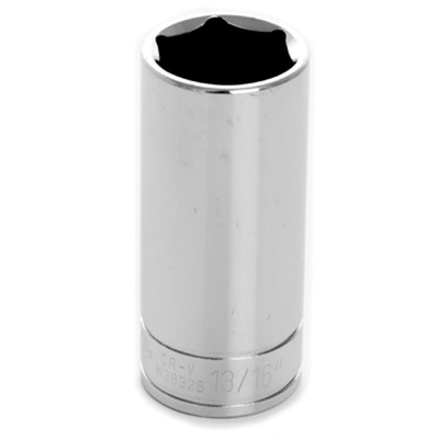 "Performance Tool W38326 Chrome Socket, 3/8"" Drive, 13/16"", 6 Point, Deep"