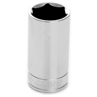 "Performance Tool W38330 Chrome Socket, 3/8"" Drive, 15/16"", 6 Point, Deep"