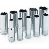 "Performance Tool W38402 Chrome Socket Set, 3/8"" Drive, 10 Piece, 10mm to 19mm, 6 Point, Deep"
