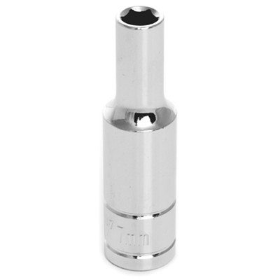 "Performance Tool W38407 Chrome Socket, 3/8"" Drive, 7mm, 6 Point, Deep"