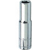"Performance Tool W38408 Chrome Socket, 3/8"" Drive, 8mm, 6 Point, Deep"
