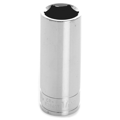 "Performance Tool W38417 Chrome Socket, 3/8"" Drive, 17mm, 6 Point, Deep"