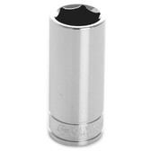 "Performance Tool W38418 Chrome Socket, 3/8"" Drive, 18mm, 6 Point, Deep"