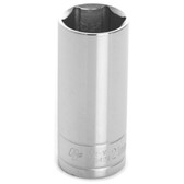"Performance Tool W38421 Chrome Socket, 3/8"" Drive, 21mm, 6 Point, Deep"
