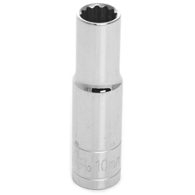 "Performance Tool W38710 Chrome Socket, 3/8"" Drive, 10mm, 12 Point, Deep"
