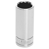 "Performance Tool W38718 Chrome Socket, 3/8"" Drive, 18mm, 12 Point, Deep"