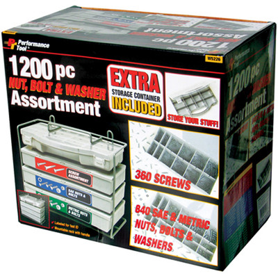 Performance Tool W5226 1200Pc Nut & Bolt Assorment