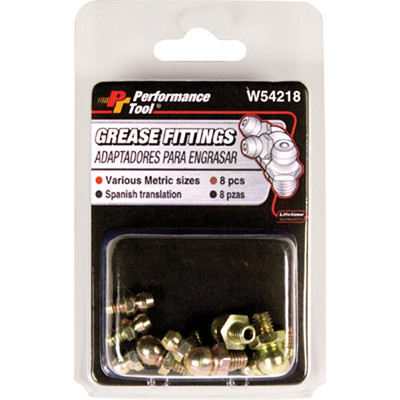 Performance Tool W54218 8 Pc MM Grease Fitting Asstmnt