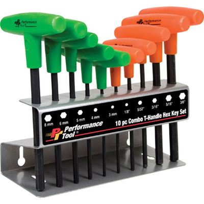 Performance Tool W80277 10 Pc T-Handle Comb Hex Key Set