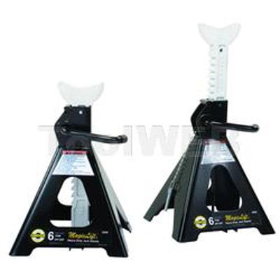 "Omega 32066 Magic Lift Jack Stands, 6 Ton Capacity, 15-3/4"" To 24-3/8"", Ratchet Arm Raises Automatically"