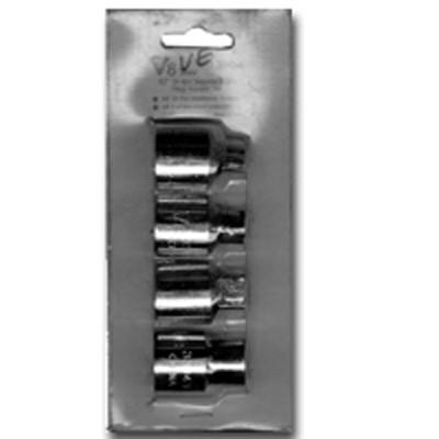 "V8 Tools 3304 Square Drain Plug Socket Set, 1/2"" Drive, 4 Piece, 8Mm Male, 10Mm Male, 1/2"" Male, 10Mm Female"