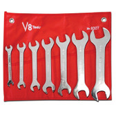 "V8 Tools 8307 Super Thin Open End Wrench Set, 7 Piece, 3/8"" To 1-1/4"", Fully Polished, In Canvas Pouch"