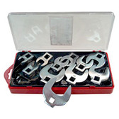 "V8 Tools 7711 Crowfoot Wrench Set, 11 Piece, 3/8"" Drive, 3/8"" To 1"", Open End Style, Thin Jaws, Fully Polished"