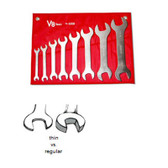 "V8 Tools 8308 Super Thin Open End Wrench Set, 8 Piece, 3/8"" To 1-5/16"", Fully Polished, In Canvas Pouch"
