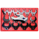 "V8 Tools 7814 Crowfoot Wrench Set, 14 Piece, 1/2"" Drive, 1-1/6"" To 2"", Open End Style, Thin Jaws, Fully Polished"