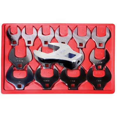 """V8 Tools 7814 Crowfoot Wrench Set, 14 Piece, 1/2"""" Drive, 1-1/6"""" To 2"""", Open End Style, Thin Jaws, Fully Polished"""