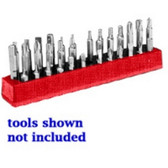 Mechanics Time Saver 581 1/4 in. Magnetic Red 37 Piece Bit Holder