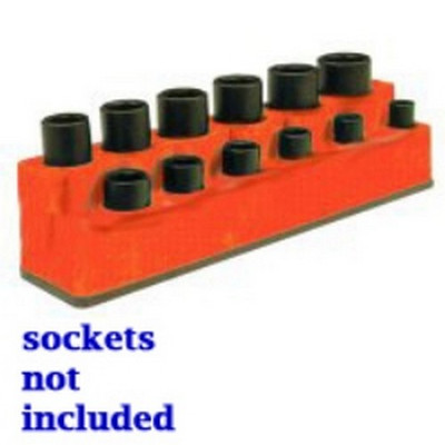 "Mechanics Time Saver 1381 3/8"" Drive 12 Hole Red Impact Socket Holder"