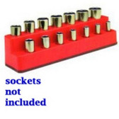 "Mechanics Time Saver 1481 3/8"" Drive 14 Hole Red Impact Socket Holder"