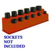 "Mechanics Time Saver 1387 3/8"" Drive 12 Hole Rocket Red Impact Socket Holder"